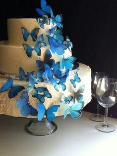 Cake, Blue, Butterflies..... Only with orange bitterflies