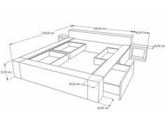 Discover thousands of images about dibujo cama doble con cajones, mesitas de noche y cabezal Bed Frame Design, Bedroom Bed Design, Bed Furniture, Furniture Design, Casa Bunker, Built In Bed, Bed With Drawers, Wood Beds, Bed Plans