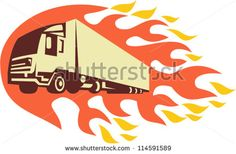 Illustration of a truck lorry done in retro style with fire flames in the background. - stock vector #truck #retro #illustration