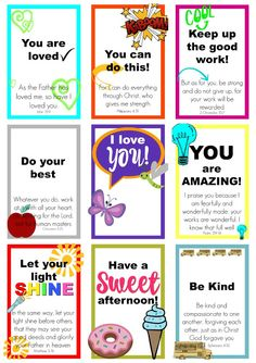 FREE printable encouraging Lunch Box Notes & blank Cards to tuck into your kids lunches. Bright and colorful with inspirational Bible verses