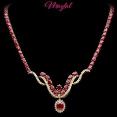$24200 CERTIFIED 14K YELLOW GOLD 52.8CT NATURAL RUBY 1.80CT DIAMOND NECKLACE #MAYTAL #ChokerCollar