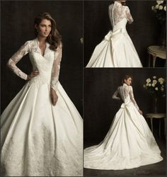 Beautiful sheer laced long sleeves covered back muslim lace V-neck custom wedding gown princess ball gown US $310.00