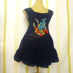 Crochet navy dress with 3D crochet flowers by ErikasMagicWardrobe, £35.00