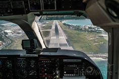 Landing at St. Maarten Airport.