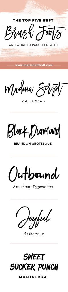Resume Templates & Design : Brush fonts are TOTALLY in right now. Here are my top five favorite brush fonts. Design Fonte, Graphisches Design, Buch Design, Logo Design, Branding Design, Corporate Branding, Logo Branding, Handwritten Fonts, Calligraphy Fonts