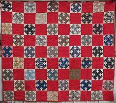 Double T Red Patchwork Civil War Vintage Quilts Quilts Vintage, Old Quilts, Antique Quilts, Barn Quilts, Civil War Quilts, Hand Quilting, Quilting Designs, Quilt Design, Quilting Ideas