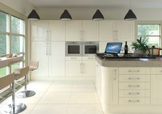 Pronto Gloss Cream Ludlow - By BA Components. trade and replacement kitchen doors and components manufacturers, vinyl wrapped MDF. Kitchen Worktop, Kitchen Tops, Kitchen Cupboards, Larder Cupboard, Cream Gloss Kitchen, High Gloss Kitchen, Replacement Kitchen Doors, Ikea, Kitchens And Bedrooms