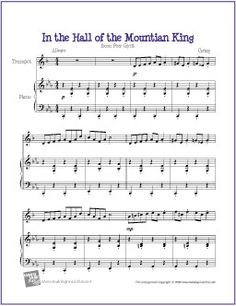 In the Hall of the Mountain King | Free Sheet Music for Trumpet - http://makingmusicfun.net/htm/f_printit_free_printable_sheet_music/in-the-hall-of-the-mountain-king-trumpet-solo.htm