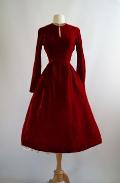 Vintage 1950s Red Velvet Party Dress 50s Red by xtabayvintage