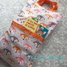 Cute Fox Travel Pillow with Pocket by MyBirchBaby on Etsy