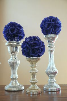 6  - 6 inch wide - ROYAL BLUE - wedding pomanders -you choose ribbon color. $60.00, via Etsy. Royal blue 6 inch wide wedding pomander flower balls