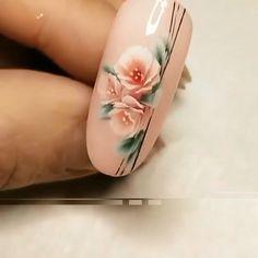 Nail Art Flowers Designs, Nail Art Designs Videos, Nail Design Video, Nail Art Videos, Best Nail Art Designs, Acrylic Nail Designs, Rose Nail Art, Floral Nail Art, Rose Nails