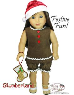 Sew a Gingerbread Girl for your 18 inch doll such as American Girl using the Slumberland pattern from Doll Tag Clothing.