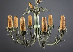 """I have many relatives that are corn farmers in Iowa so this """"Cob Chandelier"""" by Grant Wood that is displayed in the Cedar Rapids (Iowa) Museum of Art is right up my alley."""