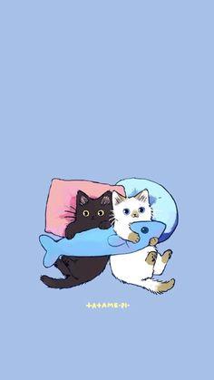 Mini Drawings, Cute Little Drawings, Cute Kawaii Animals, Cute Little Animals, Cute Laptop Stickers, Cat Wallpaper, Cat Drawing, Animal Design, Animal Paintings