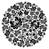 Kalocsai Folk Art Embroidery - Black Hungarian Round Floral Folk Pattern Stock Vector - Illustration of fabric, design: 68465547 Hungarian Embroidery, Folk Embroidery, Learn Embroidery, Indian Embroidery, Chain Stitch Embroidery, Embroidery Stitches, Embroidery Patterns, Arte Popular, Bordado Popular