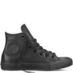 Converse - CT All Star Hi Leather Sneaker (Big Kid) - Black Mono