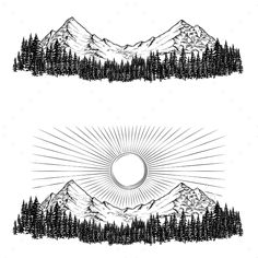 Buy Hand Drawn Vector Illustrations the Mountains by vectorpocket on GraphicRiver. Set of hand drawn vector illustrations the mountains with a coniferous forest on them and the sun in engraving style Mountain Sketch, Mountain Drawing, Mountain Tattoo, 16 Tattoo, Tattoo Drawings, Cool Drawings, Forest Sketch, Forest Drawing, Landscape Tattoo