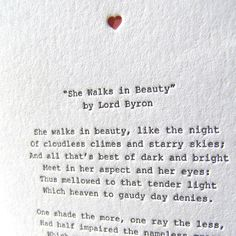 Letterpress Note Card  Love Poetry Byron by pressedufour on Etsy, $5.00