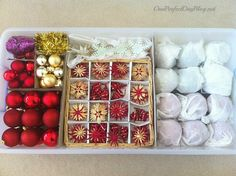 Christmas ornament storage idea: Not all decorations should be stored the same — a glass antique might required tissue paper and a separate box, while you can toss plastic ball ball into a bag without a second thought. Christmas Tree Ornaments To Make, How To Make Ornaments, Christmas Balls, Christmas Decorations, Diy Ornament Storage, Ornament Box, Vintage Christmas Cards, Handmade Christmas, Christmas Diy