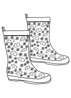 Rain boots template templates pinterest rain boot santa boots regen laarsen kleurplaat maxwellsz