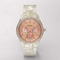 FOSSIL® : Stella Resin Watch - Pearlized White with Rose