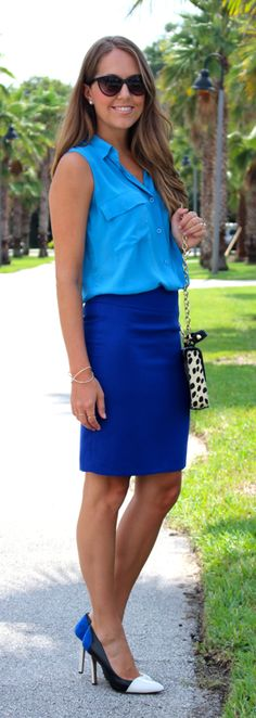 Colorblock blue outfit