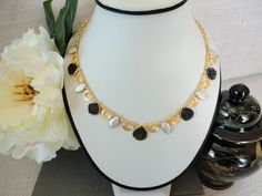 Black and White Beaded gold Necklace, Sparkly druzy necklace with Pearls, Gold Statement Necklace, unique necklaces for women - pinned by pin4etsy.com