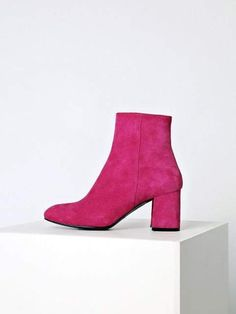 When it comes to starting, nothing can be matched with them, to make things more amazing pink boots Hot Pink Shoes, Pink Heels, Cute Shoes, Shoes Heels, Pink Ankle Boots, Suede Boots, Suede Leather, Heeled Boots, Chunky Heels