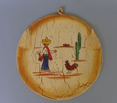 """Mexican vintage Early California Monterey crackle tray 11 3/4"""" diam"""