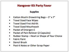 Hangover Kit Party Favor | I don't know about the hangover part, but I kind of like the idea of a little kit as a favor.  Something that will actually get used.  Although, I'm still leaning toward sparklers. Maybe a party kit?