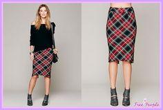 セレブ多数愛用★Free People★Lady Macbeth Skirt 大流行中のペンシルスカートを、ガーリーさ120%のレッドカラーをベースにした タータンチェックで仕立てたトレンド感抜群のペンシルスカートです♪