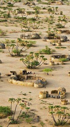 Village near Lokwakangole, Kenya on the shores of Lake Turkana and woven palm-frond homes by Michael Poliza Kenya Travel, Africa Travel, Places To Travel, Places To See, Places Around The World, Around The Worlds, Beautiful World, Beautiful Places, Amazing Places