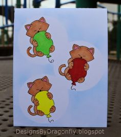 Designs by Dragonfly: Birthday Card ~ Curious Kitties  | Cat stamp by Newton's Nook Designs