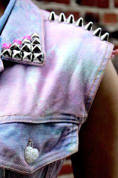 Bleached Pink TIe Dyed Denim Unicorn Vest// Pastel Unicorn Vest//
