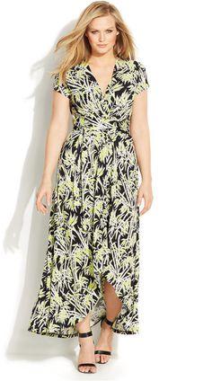 Michael Kors Plus Size Bamboo Print Faux Wrap Dress Sizes Dresses Macy S