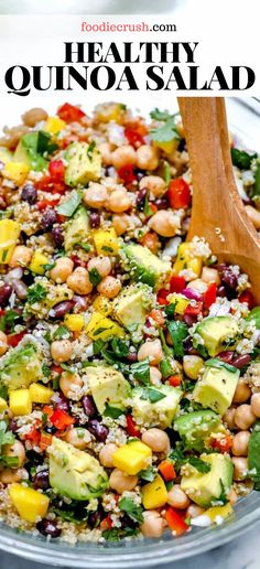 HEALTHY QUINOA SALAD WITH AVOCADO This healthy quinoa salad with chickpeas black beans mango and avocado in a limey dressing is an easy side dish or simple vegetarian meal Quinoa Salad Recipes Cold, Taco Salad Recipes, Vegetarian Recipes Easy, Healthy Salad Recipes, Meal Recipes, Simple Quinoa Recipe, Simple Avocado Recipes, Meals With Quinoa, Recipes With Beans Healthy