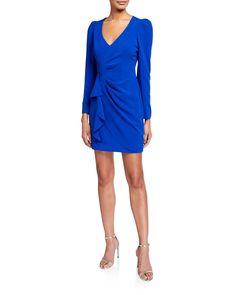 Parker Black Clinton V-neck Long-sleeve Faux Wrap Dress In Cobalt Parker Black, Faux Wrap Dress, Crepe Dress, Her Style, Neiman Marcus, Luxury Fashion, Dresses For Work, V Neck, Long Sleeve