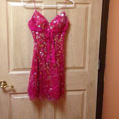 Jovani pink dress ❤️❤️❤️ Beautiful pink spaghetti strap dress.  Small ab circles size 0.  By jovani  Jovani Dresses Mini