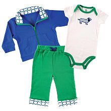 Yoga Sprout Boys 3 Piece Blue/Green Playwear Set with Zip Up Cardigan, Short Sleeve Bodysuit, and Cuffed Pants
