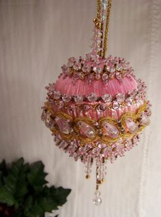 Vintage handmade beaded Christmas ornaments satin by ThisandThat4U, $12.85