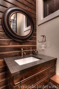 veranda interiors Bathroom Design Inspiration, Bathroom Interior Design, Veranda Interiors, Visual Comfort Lighting, Kohler Faucet, Light And Space, Wood Bathroom, Modern Rustic, Powder Room