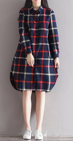 Women loose fit plus over size pocket checkered dress long sleeve skirt fashion #unbranded