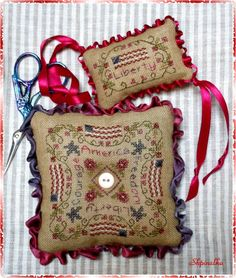 US Patriotic 4th of July cross stitch pin pillow