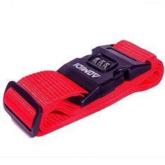 Aomidi Luggage Strap 3 Digit Combination Luggage Straps Suitcase Belt (RED)