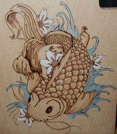 pyrography Koi fish - color added