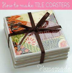 how to make tile coasters - finished coaster