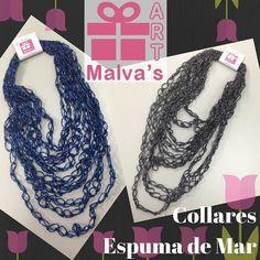 Bellos #collares largos modelo espuma de mar en nuevos colores con un toque #brillante #hechoamano #tejido a #crochet 04142210289 #malvasartvzla en #Facebook e #instagram #venezuela #caracas