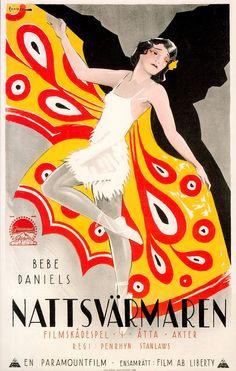 SINGED WINGS (NATTSVARMAREN) (1922) BEBE DANIELS poster art by Rohman. from Le souffle du désir (please follow minkshmink on pinterest) #flappers #twenties #roaringtwenties