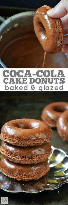 Coca-Cola Cake Donuts are rich chocolaty baked donuts with a. Coca-Cola Cake Donuts are rich chocolaty baked donuts with a cake-like texture. Perfect for breakfast snack dessert or anytime! Baked Donut Recipes, Baked Doughnuts, Baking Recipes, Cake Recipes, Dessert Recipes, Donuts Donuts, Delicious Donuts, Delicious Desserts, Cola Recipe